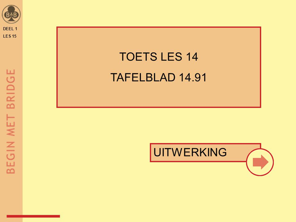 ♠ H 6 3 ♥ H 9 ♦ A V 8 2 ♣ V B 7 4 ♠ A V 2 ♥ V 10 8 6 4 ♦ 10 3 ♣ 8 5 2 N W O Z WNOZ 1 SA p2♦2♦p 2♥2♥p2 SA p pp west speelt 2 SA DEEL 1 LES 15 TRANSFERBIEDINGEN MET 5-KAART TAFELBLAD B-15.41VOORBEELD 4