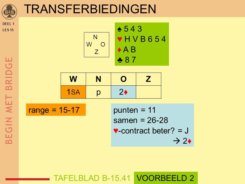♠ 5 4 3 ♥ H V B 6 5 4 ♦ A B ♣ 8 7 N W O Z WNOZ 1 SA p2♦2♦ TAFELBLAD B-15.41 range = 15-17punten = 11 samen = 26-28 ♥-contract beter.