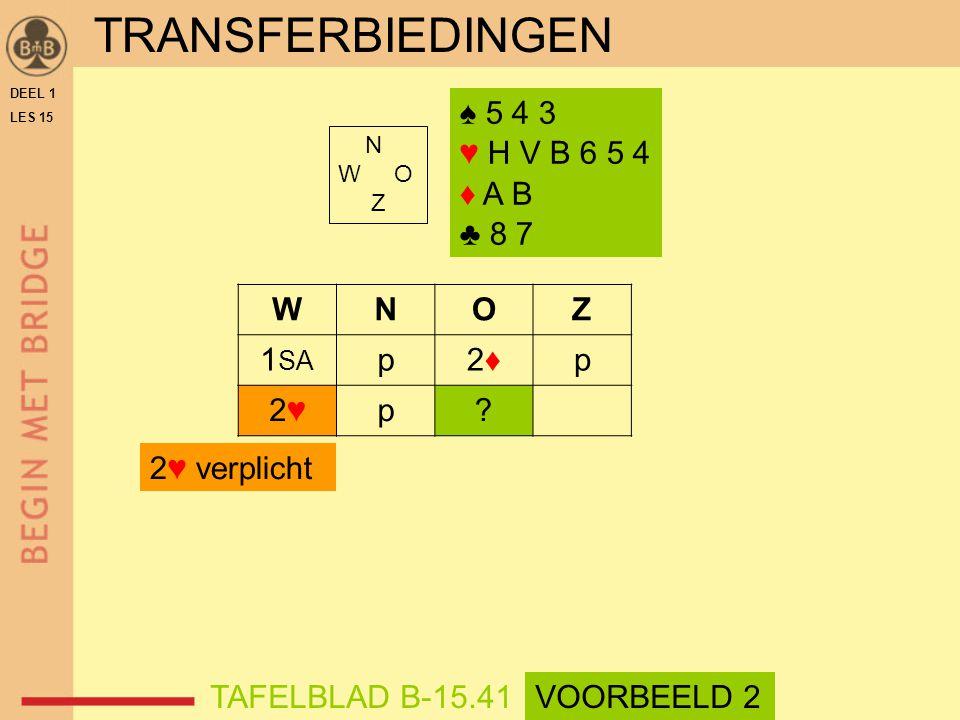 ♠ 5 4 3 ♥ H V B 6 5 4 ♦ A B ♣ 8 7 N W O Z WNOZ 1 SA p2♦2♦p 2♥2♥p.