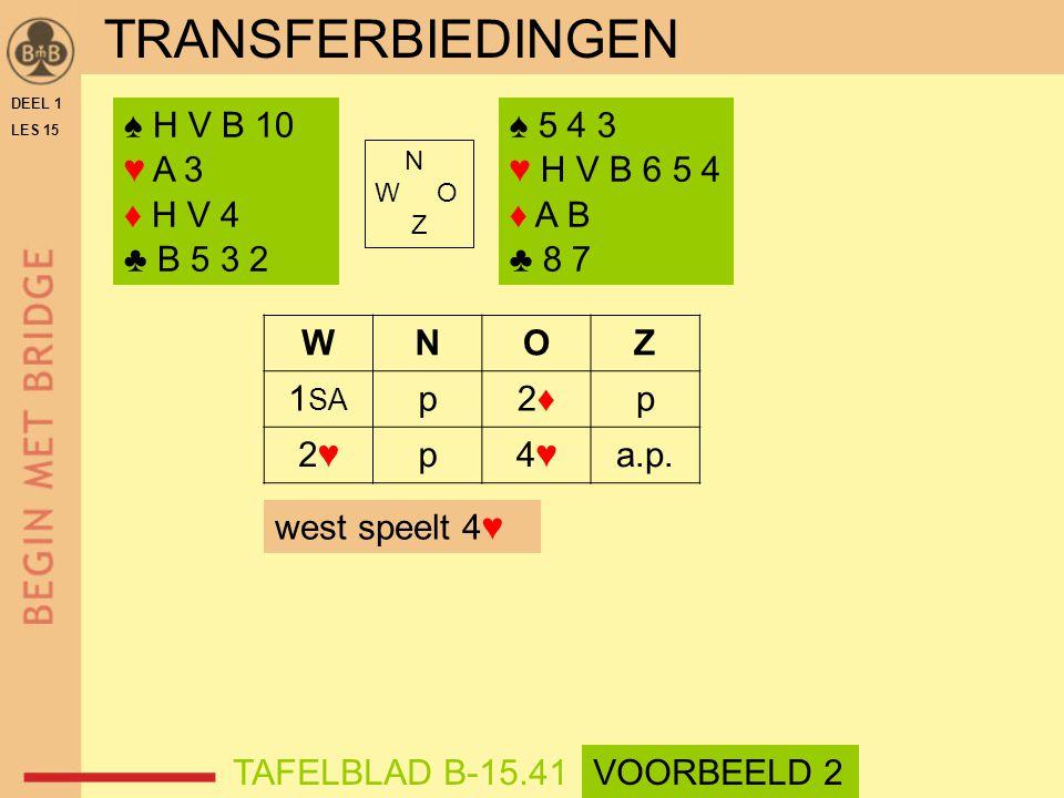 ♠ H V B 10 ♥ A 3 ♦ H V 4 ♣ B 5 3 2 ♠ 5 4 3 ♥ H V B 6 5 4 ♦ A B ♣ 8 7 N W O Z WNOZ 1 SA p2♦2♦p 2♥2♥p4♥4♥a.p.