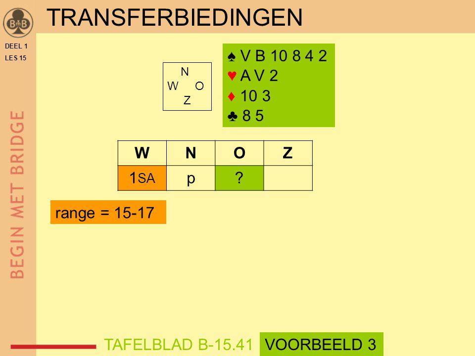 ♠ V B 10 8 4 2 ♥ A V 2 ♦ 10 3 ♣ 8 5 N W O Z WNOZ 1 SA p.