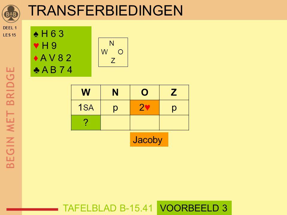♠ H 6 3 ♥ H 9 ♦ A V 8 2 ♣ A B 7 4 N W O Z WNOZ 1 SA p2♥2♥p .