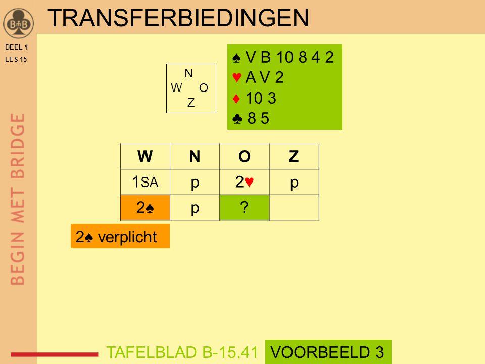 ♠ V B 10 8 4 2 ♥ A V 2 ♦ 10 3 ♣ 8 5 N W O Z WNOZ 1 SA p2♥2♥p 2♠2♠p.