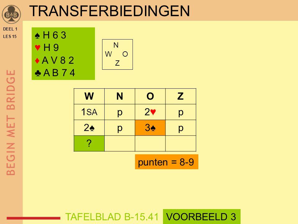 ♠ H 6 3 ♥ H 9 ♦ A V 8 2 ♣ A B 7 4 N W O Z WNOZ 1 SA p2♥2♥p 2♠2♠p3♠p .