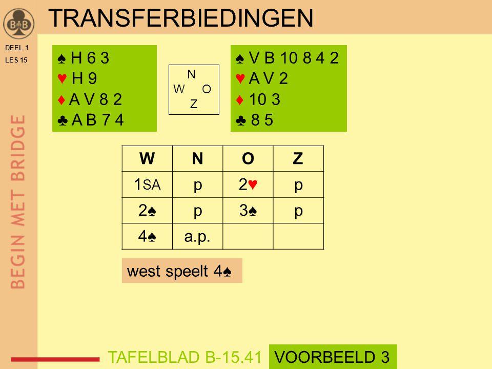 ♠ H 6 3 ♥ H 9 ♦ A V 8 2 ♣ A B 7 4 ♠ V B 10 8 4 2 ♥ A V 2 ♦ 10 3 ♣ 8 5 N W O Z WNOZ 1 SA p2♥2♥p 2♠2♠p3♠p 4♠4♠a.p.