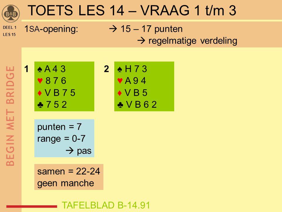 ♠ H 6 ♥ H 9 3 ♦ A V 8 2 ♣ A B 7 4 N W O Z WNOZ ? TAFELBLAD B-15.71OEFENING 4 DEEL 1 LES 15
