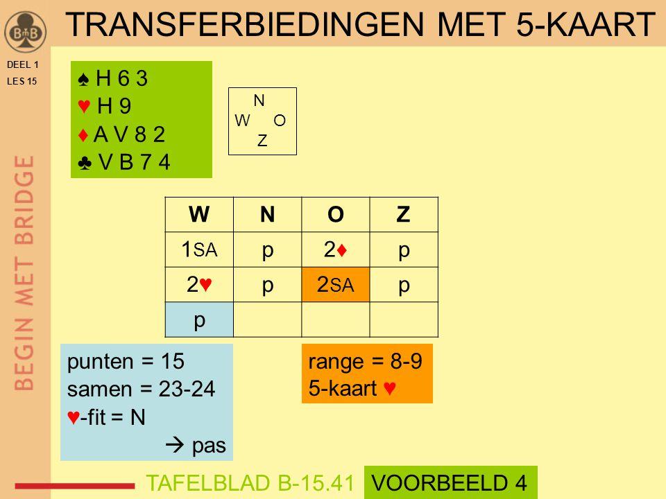 ♠ H 6 3 ♥ H 9 ♦ A V 8 2 ♣ V B 7 4 N W O Z WNOZ 1 SA p2♦2♦p 2♥2♥p2 SA p p range = 8-9 5-kaart ♥ punten = 15 samen = 23-24 ♥-fit = N  pas DEEL 1 LES 15 TRANSFERBIEDINGEN MET 5-KAART TAFELBLAD B-15.41VOORBEELD 4