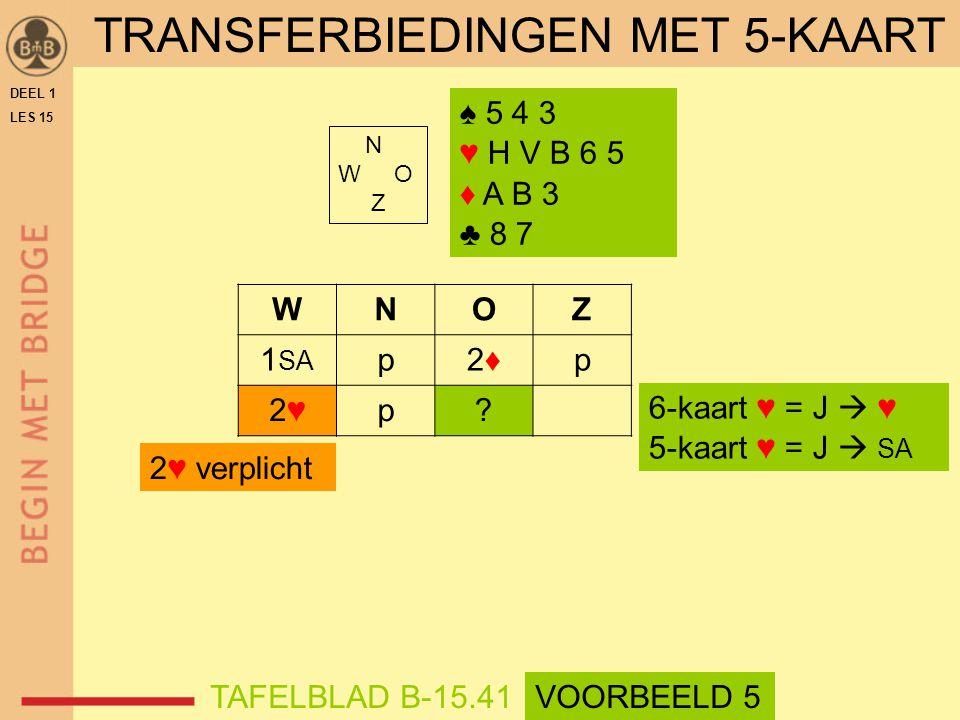 ♠ 5 4 3 ♥ H V B 6 5 ♦ A B 3 ♣ 8 7 N W O Z WNOZ 1 SA p2♦2♦p 2♥2♥p.