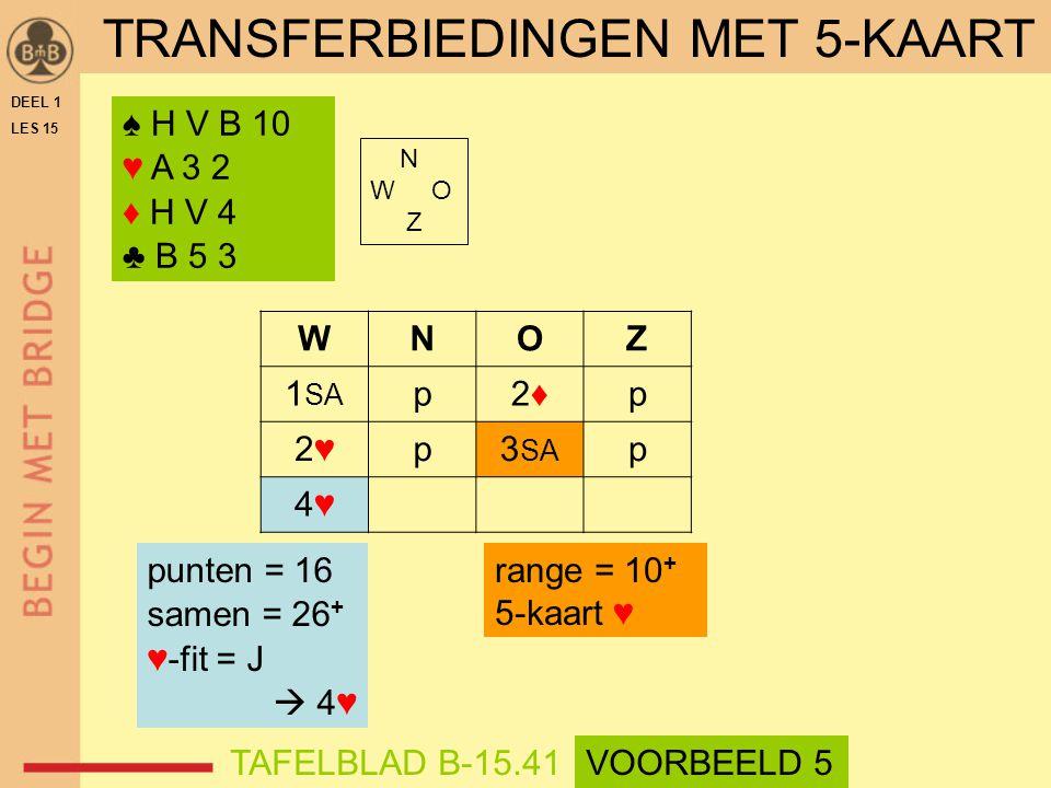 ♠ H V B 10 ♥ A 3 2 ♦ H V 4 ♣ B 5 3 N W O Z WNOZ 1 SA p2♦2♦p 2♥2♥p3 SA p 4♥4♥ punten = 16 samen = 26 + ♥-fit = J  4♥ range = 10 + 5-kaart ♥ DEEL 1 LES 15 TRANSFERBIEDINGEN MET 5-KAART TAFELBLAD B-15.41VOORBEELD 5
