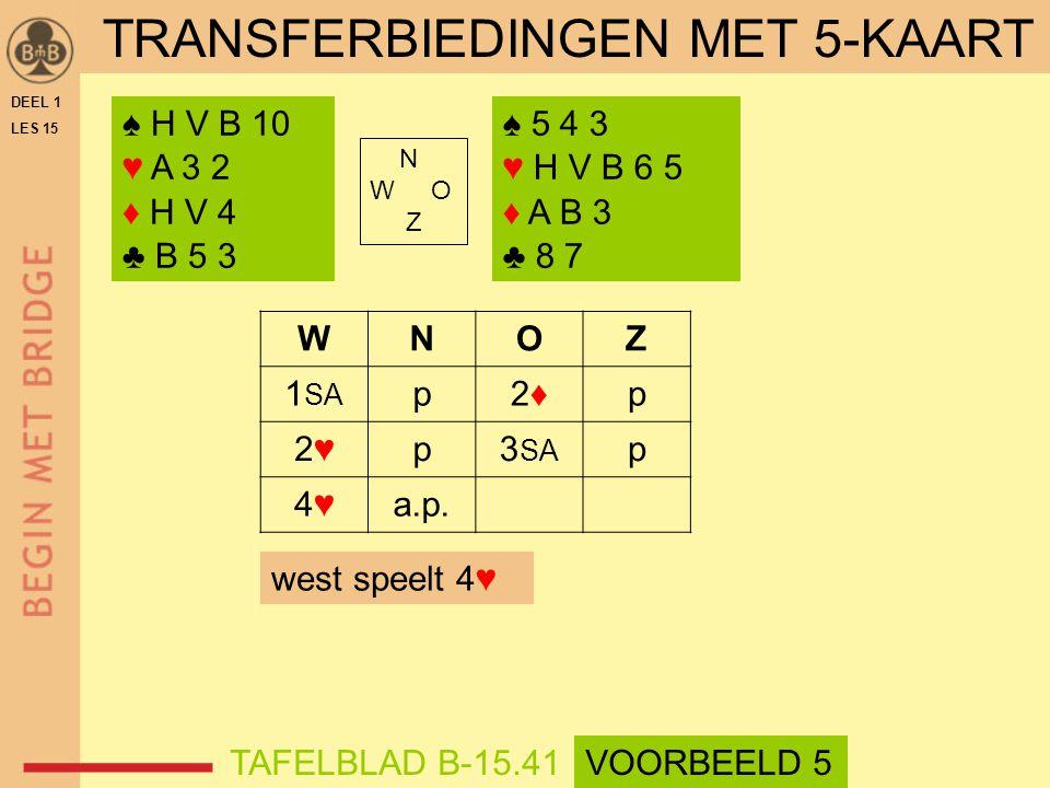 ♠ H V B 10 ♥ A 3 2 ♦ H V 4 ♣ B 5 3 ♠ 5 4 3 ♥ H V B 6 5 ♦ A B 3 ♣ 8 7 N W O Z WNOZ 1 SA p2♦2♦p 2♥2♥p3 SA p 4♥4♥a.p.