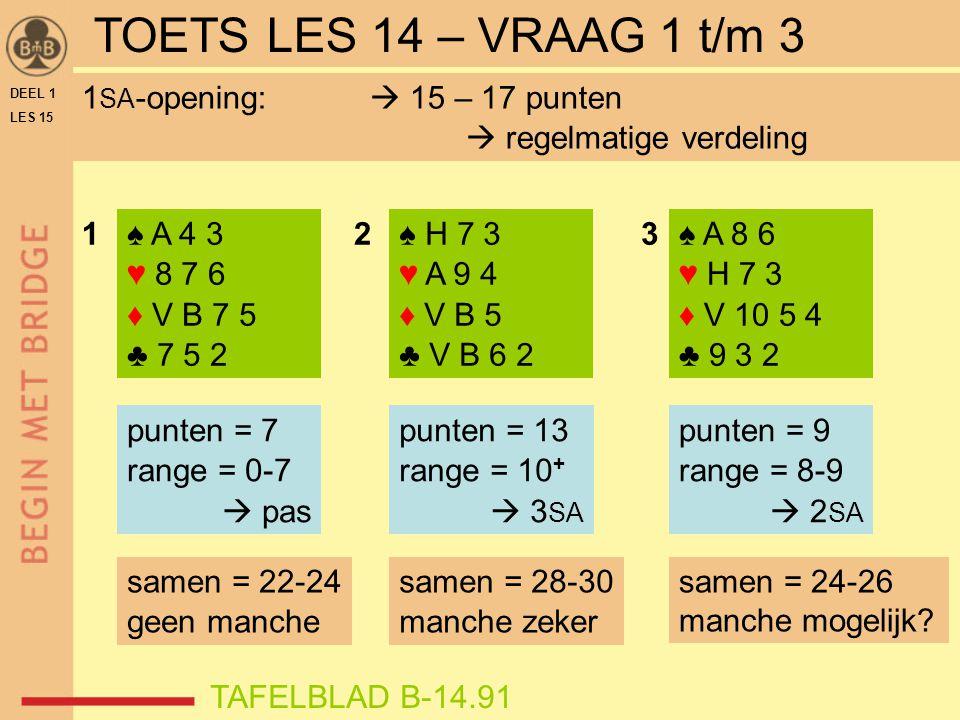 TOETS LES 14 – VRAAG 4 t/m 6 ♠ H V 3 ♥ A 9 6 ♦ H B 8 2 ♣ V 10 7 15 punten 1 SA – 2 SA 4 .