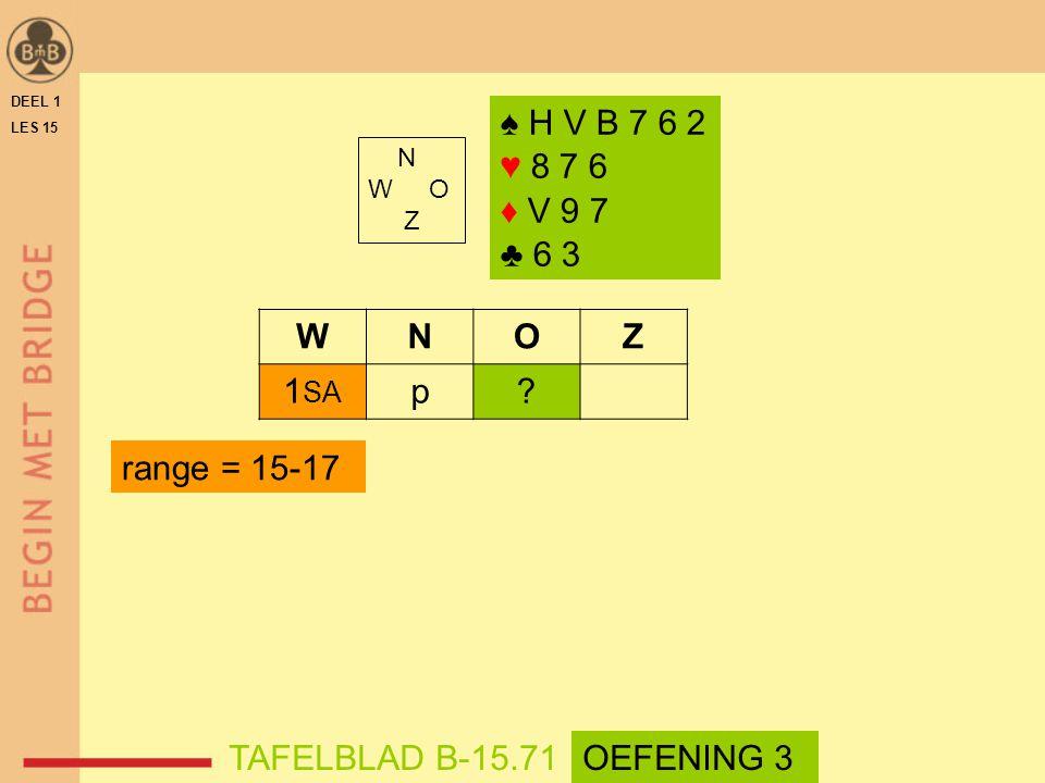 ♠ H V B 7 6 2 ♥ 8 7 6 ♦ V 9 7 ♣ 6 3 N W O Z WNOZ 1 SA p.