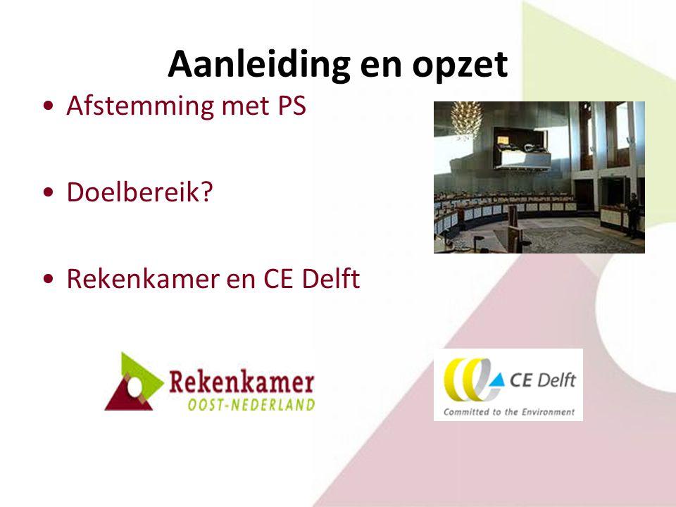 Hoofdconclusie A) brede mix van projecten en instrumenten stimuleren energietransitie in Gelderland B) maar inzicht in het resultaat fragmentarisch onvoldoende duidelijk wat doeltreffende en doelmatige sturingsmogelijkheden voor de provincie zijn (meerwaarde?)
