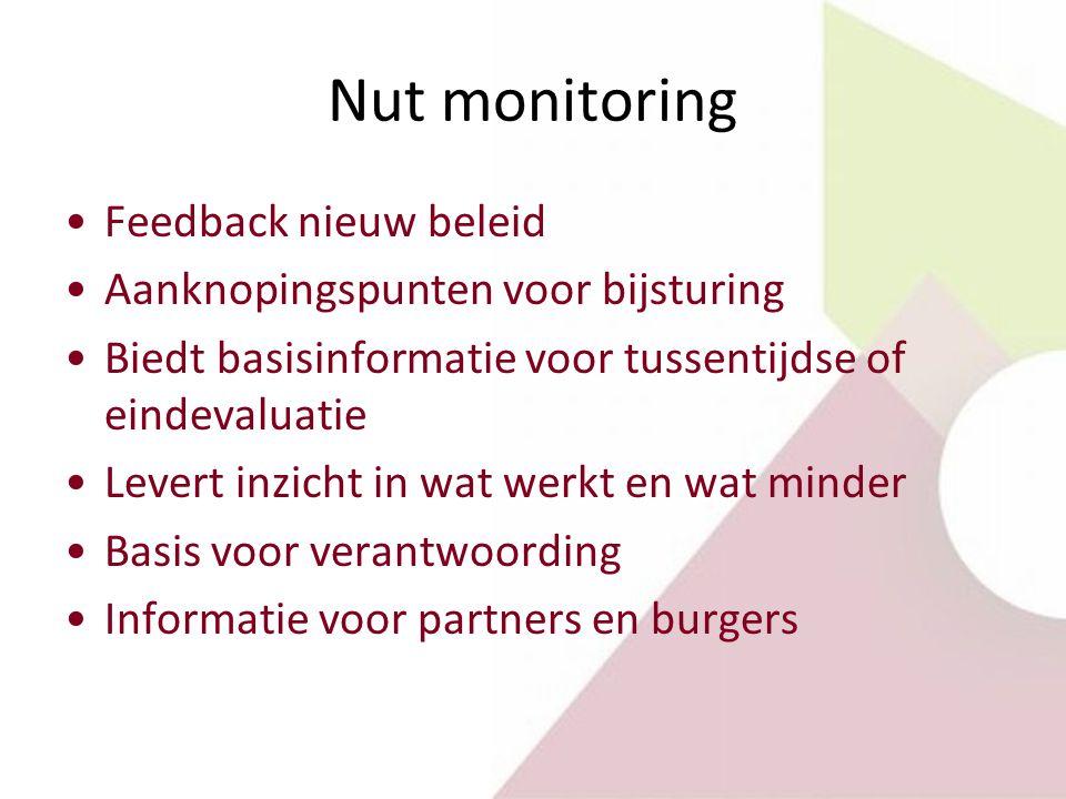 Nut monitoring Feedback nieuw beleid Aanknopingspunten voor bijsturing Biedt basisinformatie voor tussentijdse of eindevaluatie Levert inzicht in wat