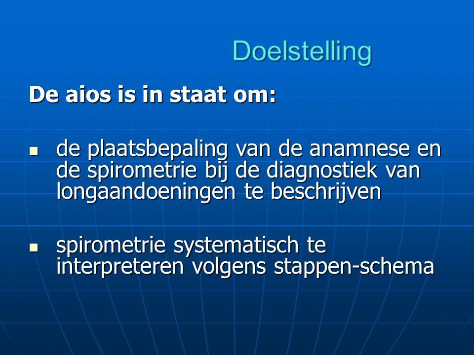 De aios is in staat om: de plaatsbepaling van de anamnese en de spirometrie bij de diagnostiek van longaandoeningen te beschrijven de plaatsbepaling van de anamnese en de spirometrie bij de diagnostiek van longaandoeningen te beschrijven spirometrie systematisch te interpreteren volgens stappen-schema spirometrie systematisch te interpreteren volgens stappen-schema