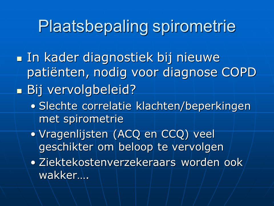 Plaatsbepaling spirometrie In kader diagnostiek bij nieuwe patiënten, nodig voor diagnose COPD In kader diagnostiek bij nieuwe patiënten, nodig voor diagnose COPD Bij vervolgbeleid.