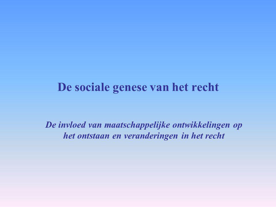 De sociale genese van het recht De invloed van maatschappelijke ontwikkelingen op het ontstaan en veranderingen in het recht