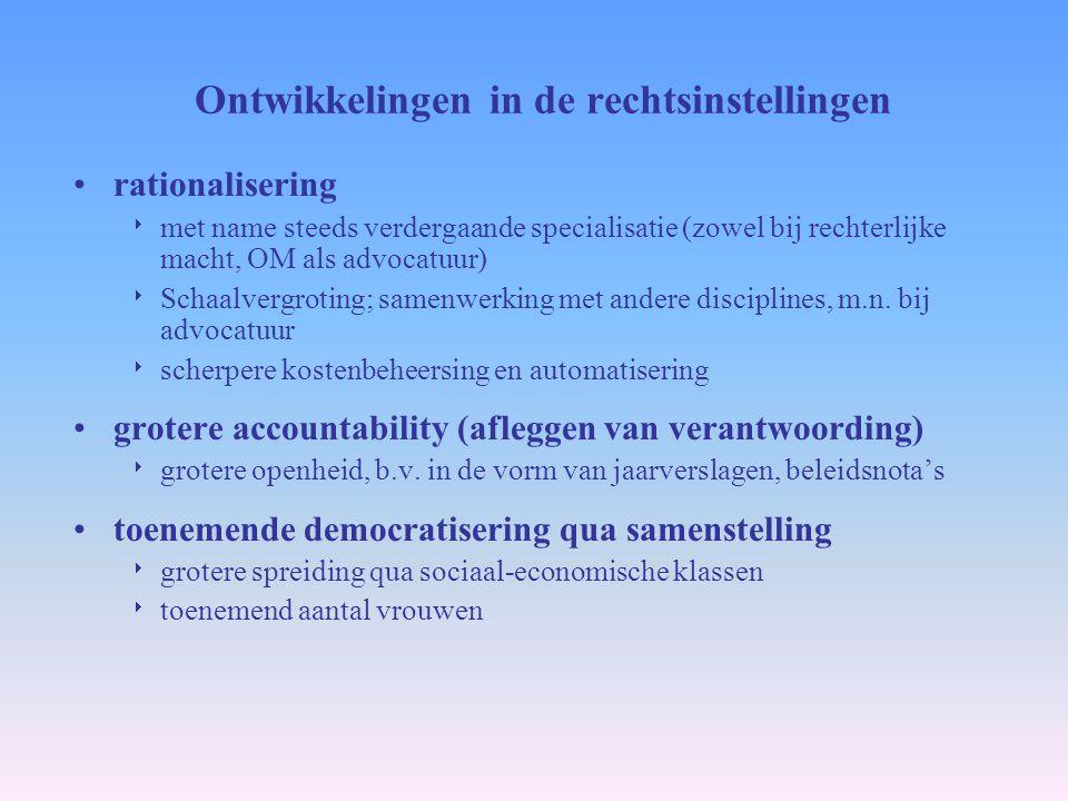 Ontwikkelingen in de rechtsinstellingen rationalisering  met name steeds verdergaande specialisatie (zowel bij rechterlijke macht, OM als advocatuur)