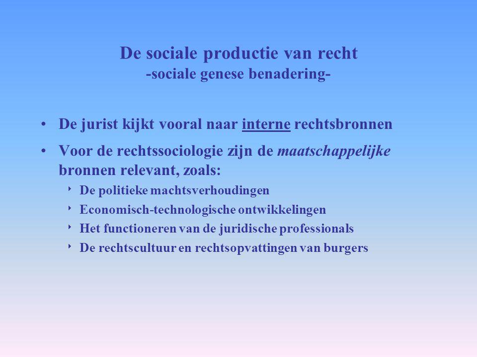 De sociale productie van recht -sociale genese benadering- De jurist kijkt vooral naar interne rechtsbronnen Voor de rechtssociologie zijn de maatscha