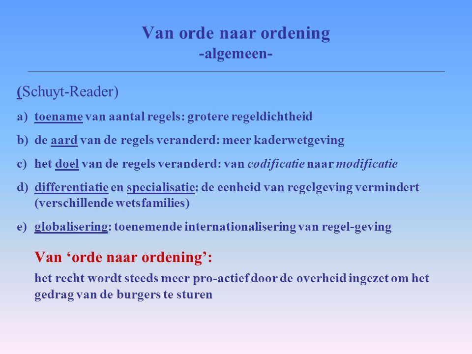Van orde naar ordening -algemeen- (Schuyt-Reader) a)toename van aantal regels: grotere regeldichtheid b)de aard van de regels veranderd: meer kaderwet