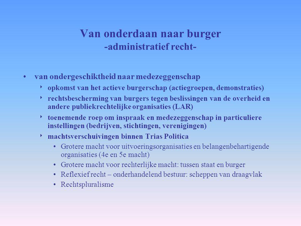 Van onderdaan naar burger -administratief recht- van ondergeschiktheid naar medezeggenschap  opkomst van het actieve burgerschap (actiegroepen, demon