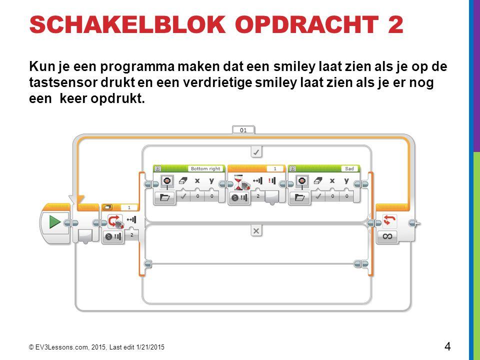 SCHAKELBLOK OPDRACHT 2 Kun je een programma maken dat een smiley laat zien als je op de tastsensor drukt en een verdrietige smiley laat zien als je er
