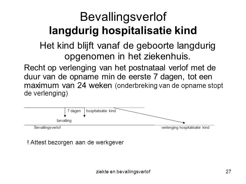 ziekte en bevallingsverlof27 Bevallingsverlof langdurig hospitalisatie kind Het kind blijft vanaf de geboorte langdurig opgenomen in het ziekenhuis. R