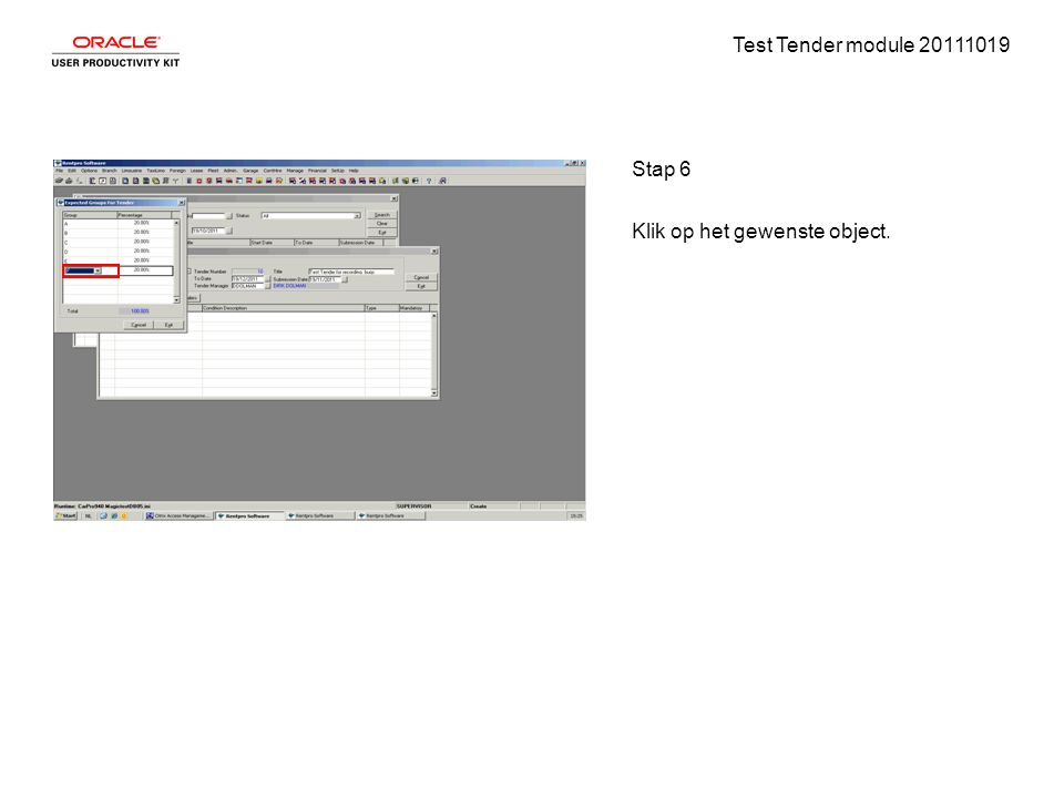 Test Tender module 20111019 Stap 6 Klik op het gewenste object.