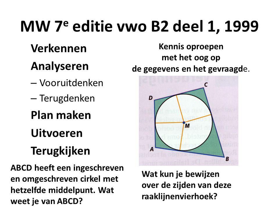 MW 7 e editie vwo B2 deel 1, 1999 Verkennen Analyseren – Vooruitdenken – Terugdenken Plan maken Uitvoeren Terugkijken Kennis oproepen met het oog op d