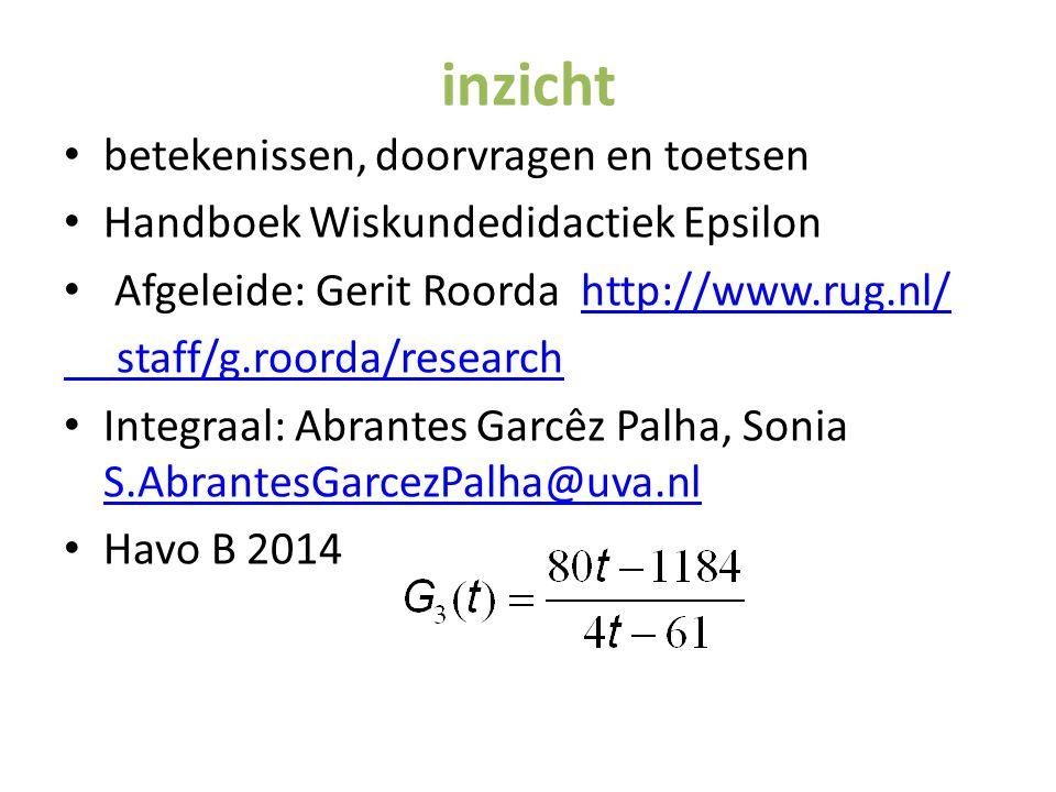 inzicht betekenissen, doorvragen en toetsen Handboek Wiskundedidactiek Epsilon Afgeleide: Gerit Roorda http://www.rug.nl/http://www.rug.nl/ staff/g.ro