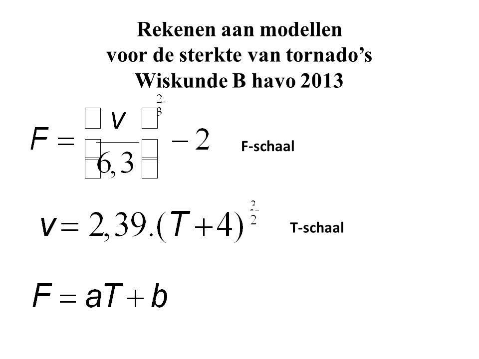 Rekenen aan modellen voor de sterkte van tornado's Wiskunde B havo 2013 F-schaal T-schaal