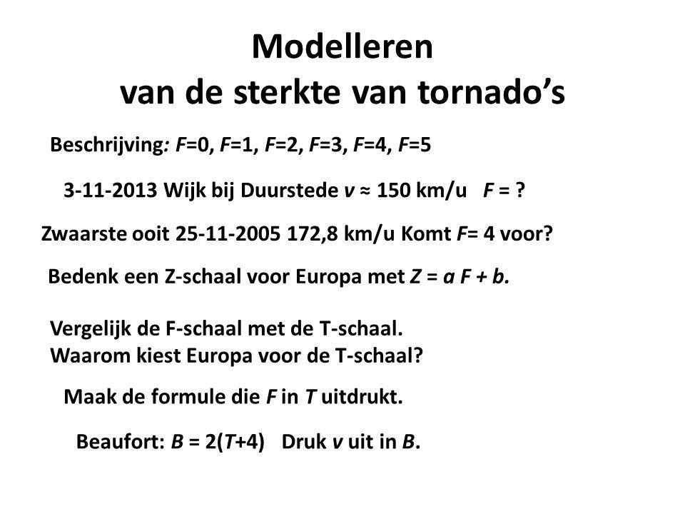Modelleren van de sterkte van tornado's Beschrijving: F=0, F=1, F=2, F=3, F=4, F=5 3-11-2013 Wijk bij Duurstede v ≈ 150 km/u F = ? Zwaarste ooit 25-11
