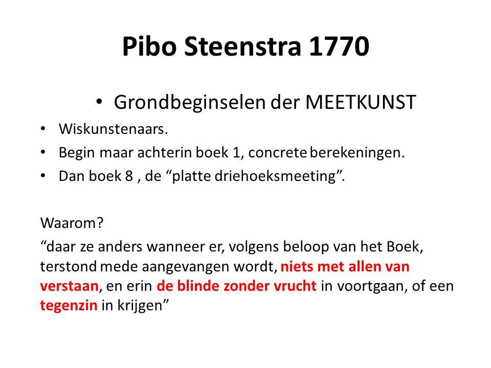 """Pibo Steenstra 1770 Grondbeginselen der MEETKUNST Wiskunstenaars. Begin maar achterin boek 1, concrete berekeningen. Dan boek 8, de """"platte driehoeksm"""