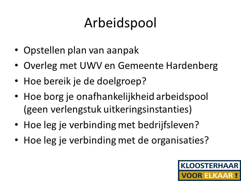 Arbeidspool Opstellen plan van aanpak Overleg met UWV en Gemeente Hardenberg Hoe bereik je de doelgroep.