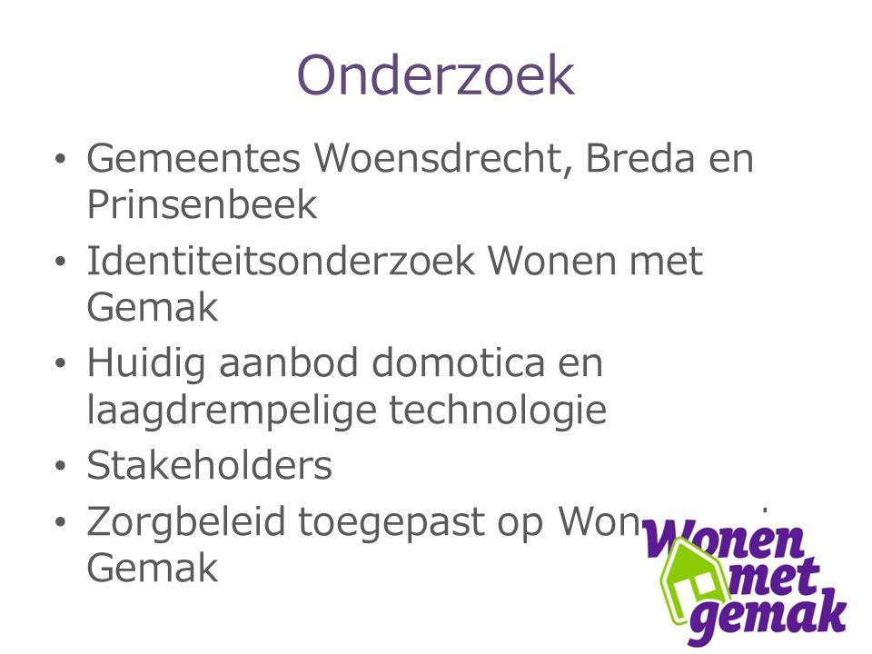 Onderzoek Gemeentes Woensdrecht, Breda en Prinsenbeek Identiteitsonderzoek Wonen met Gemak Huidig aanbod domotica en laagdrempelige technologie Stakeholders Zorgbeleid toegepast op Wonen met Gemak