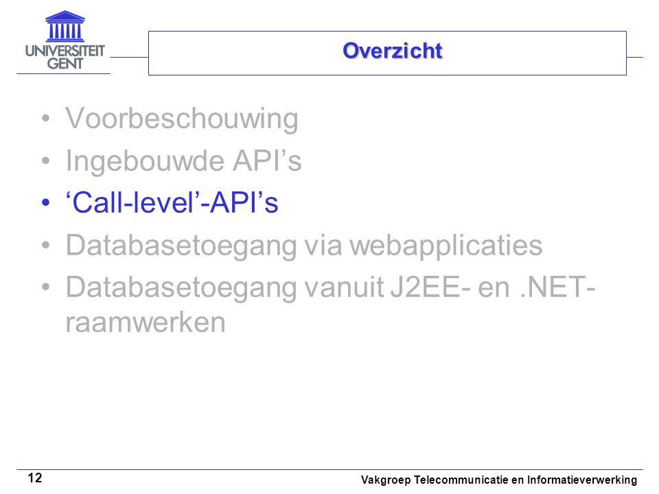 Vakgroep Telecommunicatie en Informatieverwerking 12 Overzicht Voorbeschouwing Ingebouwde API's 'Call-level'-API's Databasetoegang via webapplicaties Databasetoegang vanuit J2EE- en.NET- raamwerken