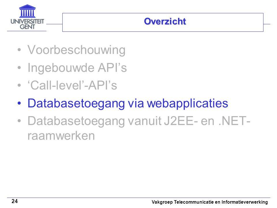 Vakgroep Telecommunicatie en Informatieverwerking 24 Overzicht Voorbeschouwing Ingebouwde API's 'Call-level'-API's Databasetoegang via webapplicaties Databasetoegang vanuit J2EE- en.NET- raamwerken