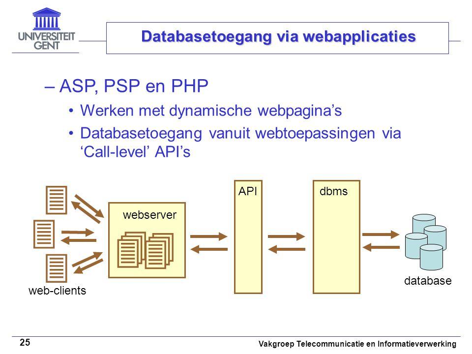Vakgroep Telecommunicatie en Informatieverwerking 25 Databasetoegang via webapplicaties –ASP, PSP en PHP Werken met dynamische webpagina's Databasetoegang vanuit webtoepassingen via 'Call-level' API's dbms database API webserver   web-clients   