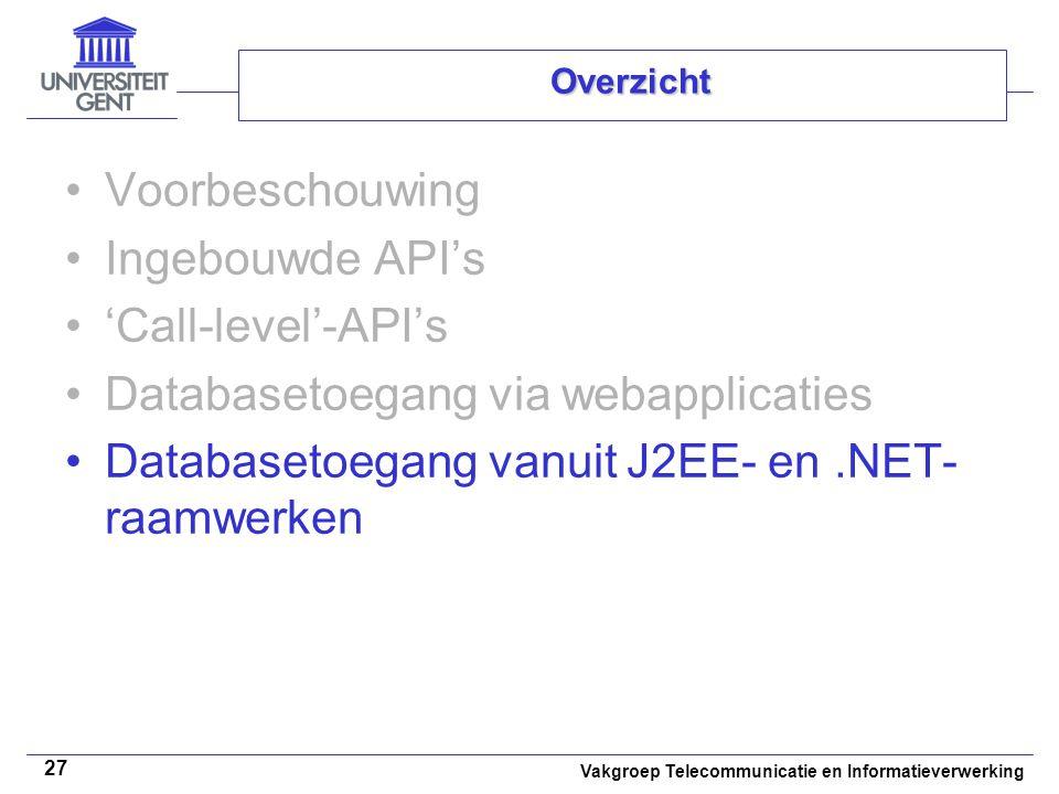 Vakgroep Telecommunicatie en Informatieverwerking 27 Overzicht Voorbeschouwing Ingebouwde API's 'Call-level'-API's Databasetoegang via webapplicaties Databasetoegang vanuit J2EE- en.NET- raamwerken