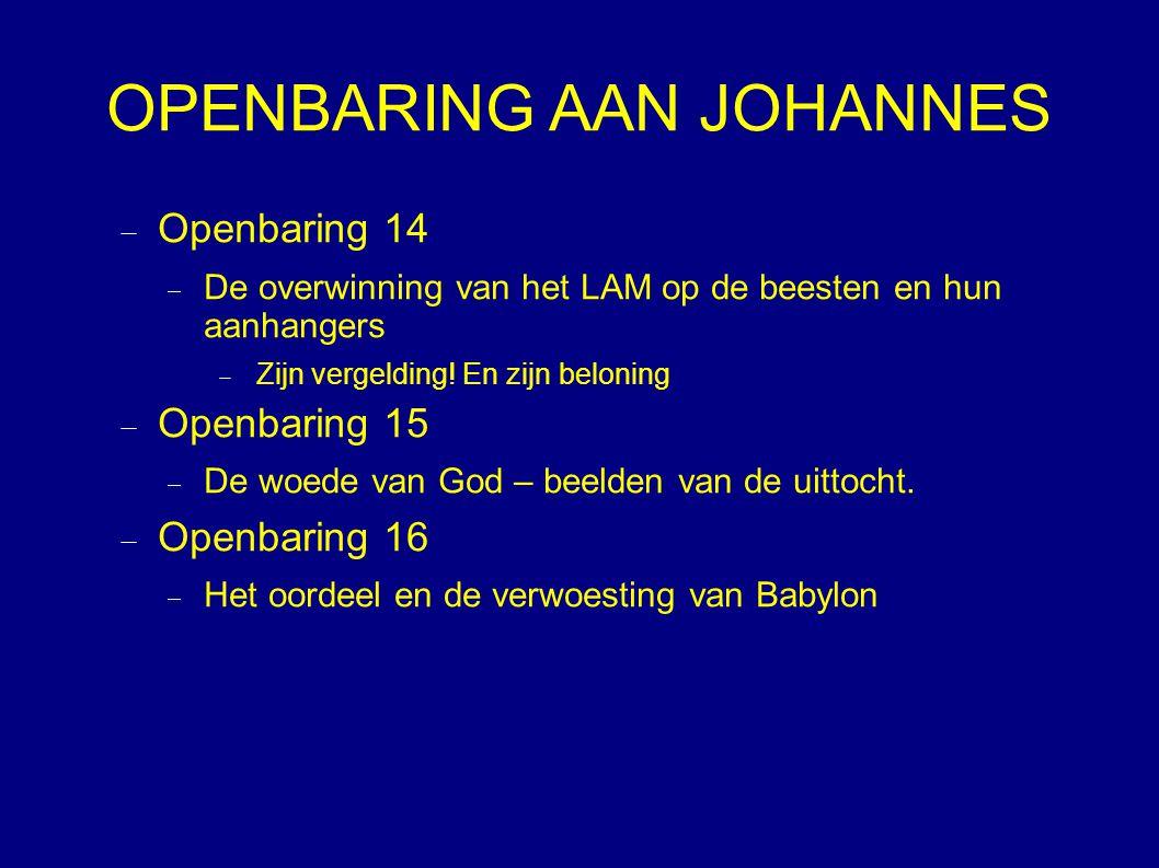 OPENBARING AAN JOHANNES  Openbaring 14  De overwinning van het LAM op de beesten en hun aanhangers  Zijn vergelding.