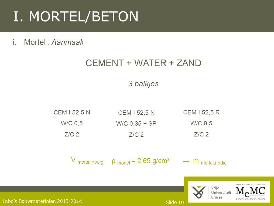 Slide 10 Labo's Bouwmaterialen 2013-2014 I. MORTEL/BETON i.Mortel : Aanmaak CEMENT + WATER + ZAND 3 balkjes CEM I 52,5 N W/C 0,5 Z/C 2 CEM I 52,5 N W/