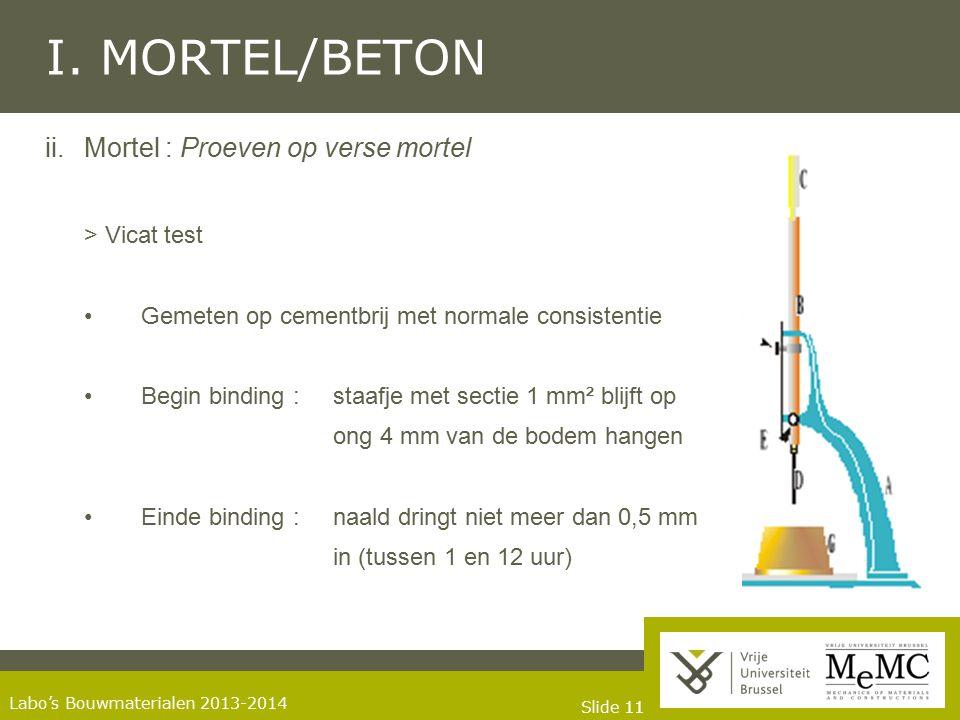 Slide 11 Labo's Bouwmaterialen 2013-2014 I. MORTEL/BETON ii.Mortel : Proeven op verse mortel > Vicat test Gemeten op cementbrij met normale consistent