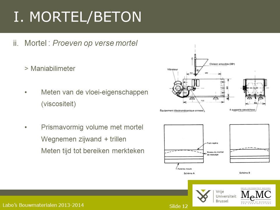 Slide 12 Labo's Bouwmaterialen 2013-2014 I. MORTEL/BETON ii.Mortel : Proeven op verse mortel > Maniabilimeter Meten van de vloei-eigenschappen (viscos