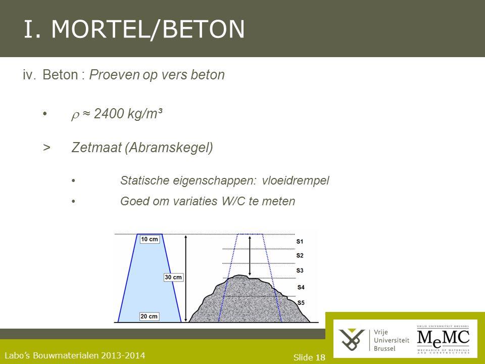 Slide 18 Labo's Bouwmaterialen 2013-2014 I. MORTEL/BETON iv.Beton : Proeven op vers beton  ≈ 2400 kg/m³ >Zetmaat (Abramskegel) Statische eigenschappe