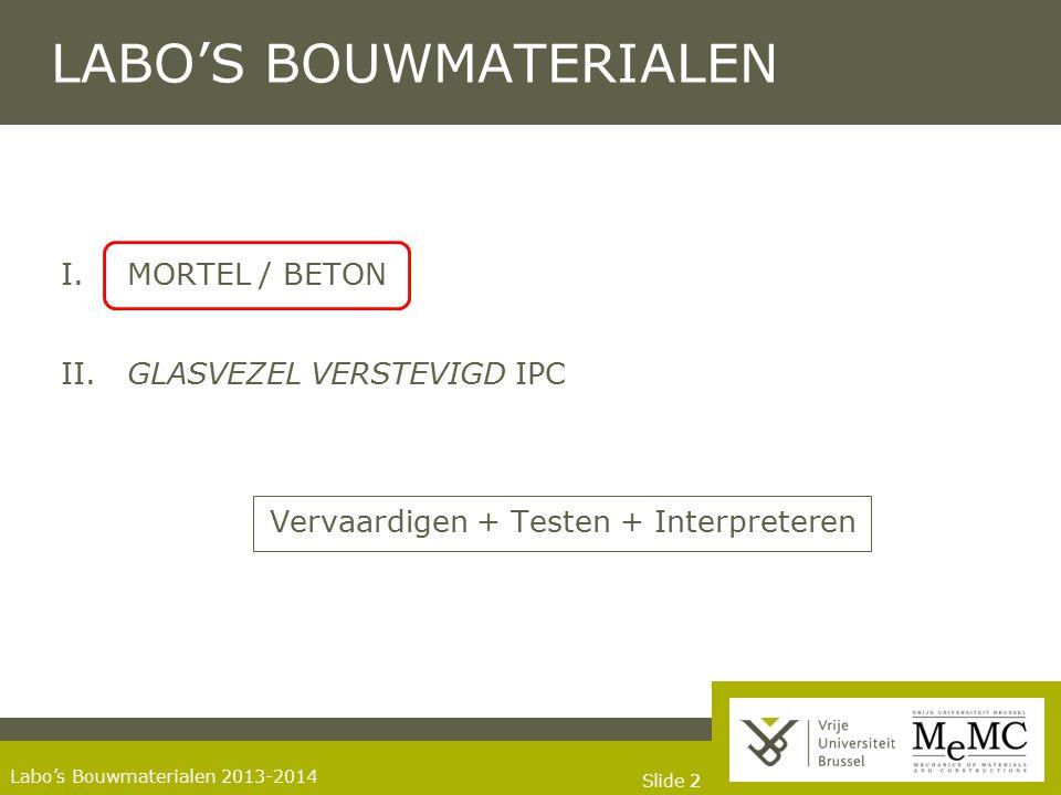Slide 22 Labo's Bouwmaterialen 2013-2014 LABO'S BOUWMATERIALEN I.MORTEL / BETON II. GLASVEZEL VERSTEVIGD IPC Vervaardigen + Testen + Interpreteren