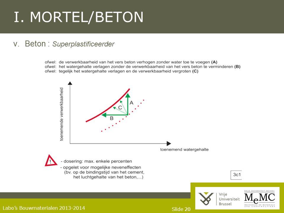 Slide 20 Labo's Bouwmaterialen 2013-2014 I. MORTEL/BETON v.Beton : Superplastificeerder