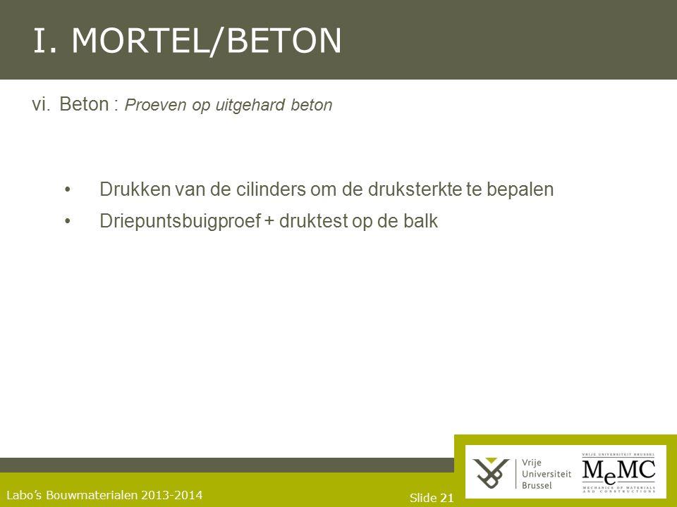 Slide 21 Labo's Bouwmaterialen 2013-2014 I. MORTEL/BETON vi.Beton : Proeven op uitgehard beton Drukken van de cilinders om de druksterkte te bepalen D