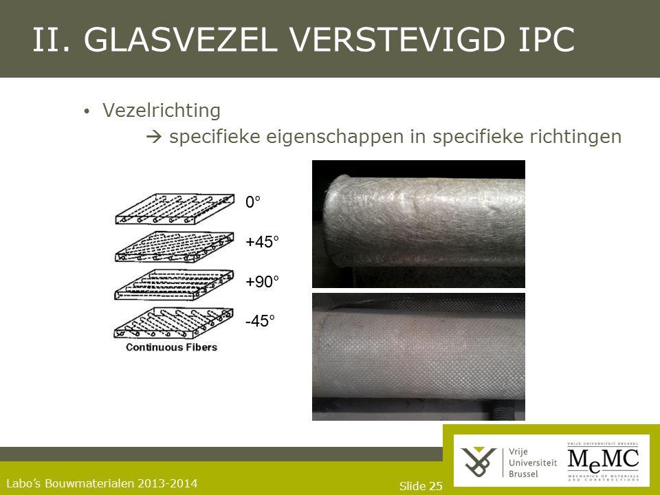 Slide 25 Labo's Bouwmaterialen 2013-2014 II. GLASVEZEL VERSTEVIGD IPC Vezelrichting  specifieke eigenschappen in specifieke richtingen 0° +45° +90° -
