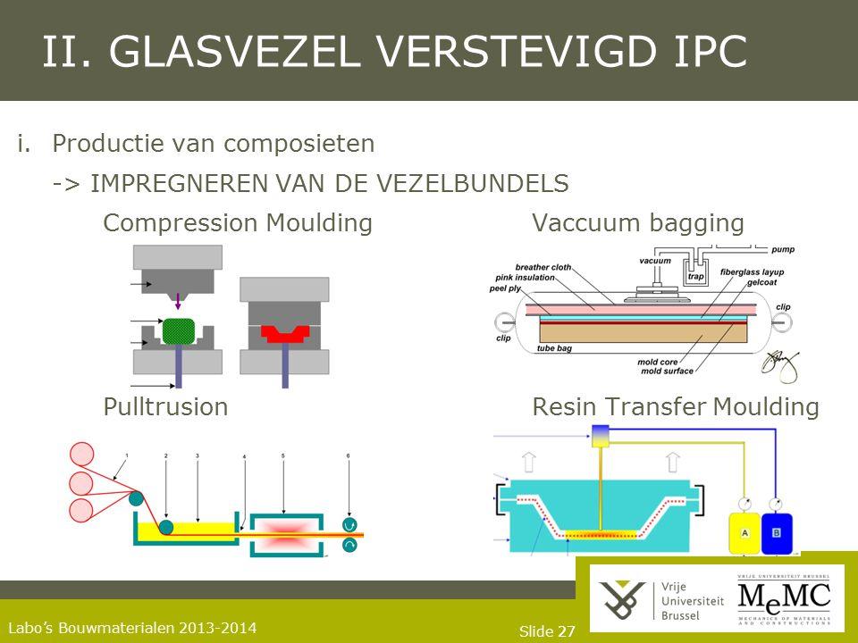 Slide 27 Labo's Bouwmaterialen 2013-2014 II. GLASVEZEL VERSTEVIGD IPC i.Productie van composieten -> IMPREGNEREN VAN DE VEZELBUNDELS Compression Mould