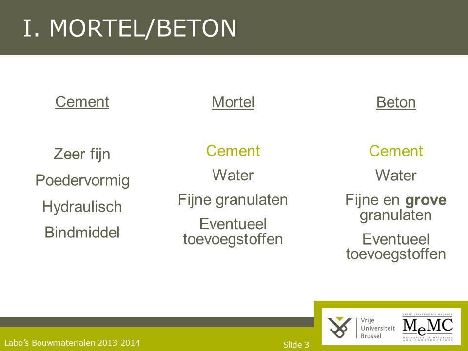 Slide 33 Labo's Bouwmaterialen 2013-2014 I. MORTEL/BETON Cement Zeer fijn Poedervormig Hydraulisch Bindmiddel Beton Cement Water Fijne en grove granul